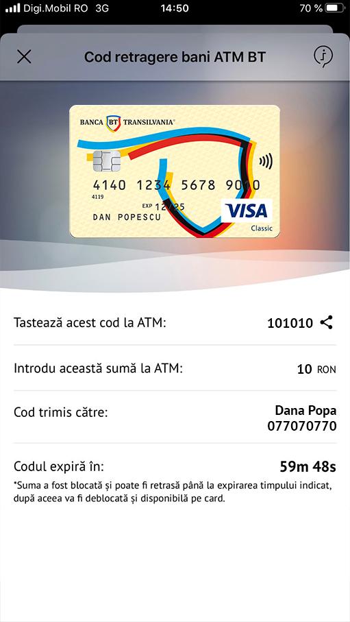 Ecran BT Pay succes retragere cash