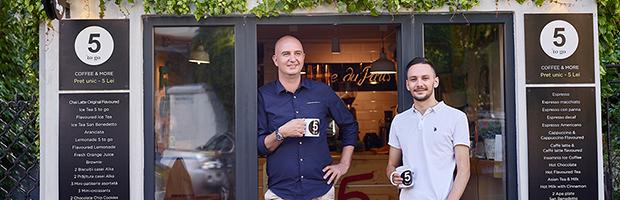 5 to go, un business cu cafenele concept, sustinut de Banca Transilvania