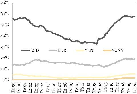 Ponderea valutelor in rezervele internationale reprezentata in grafic