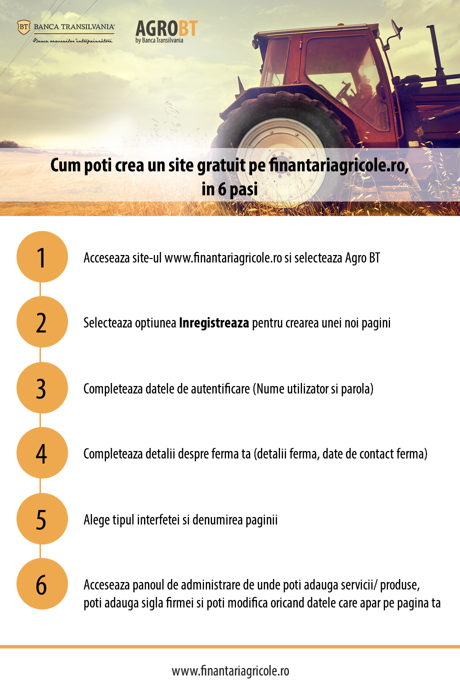 Infografic BT: Cum poti crea un site gratuit pe finantariagricole.ro, in 6 pasi