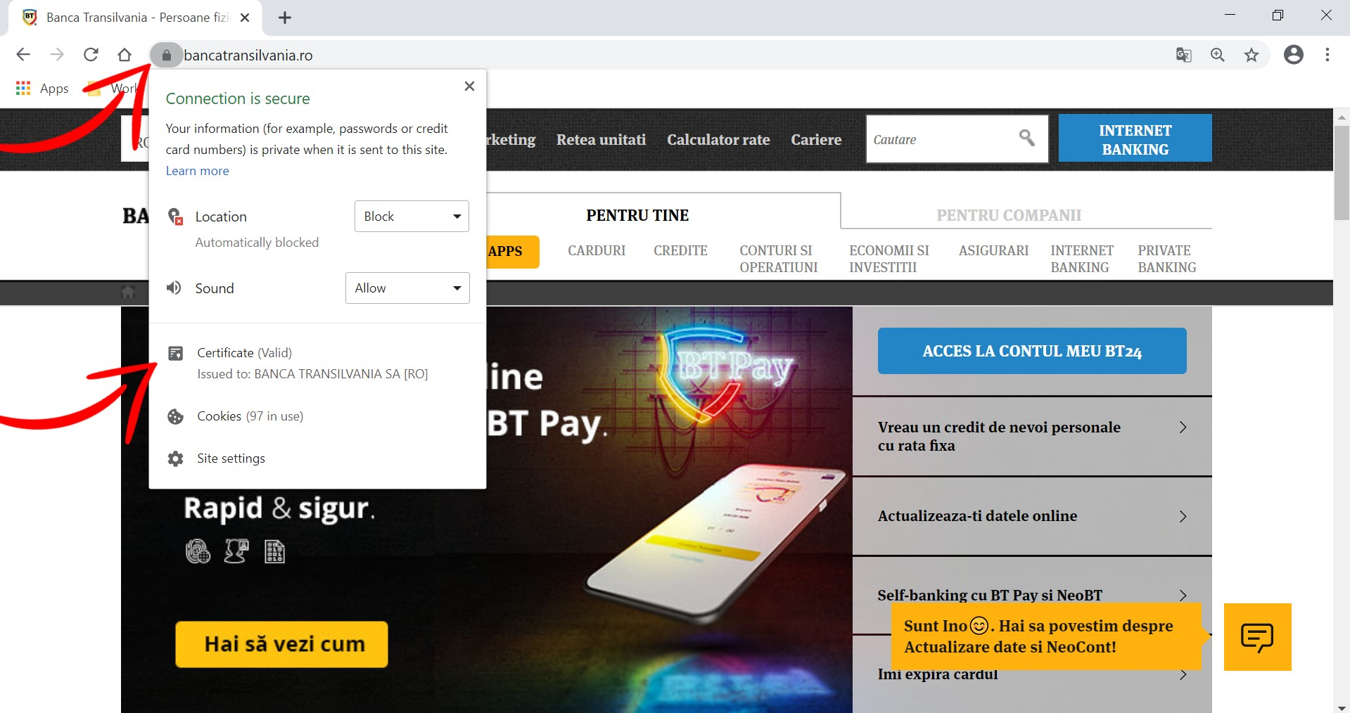 Afisare certificat SSL Banca Transilvania in browser