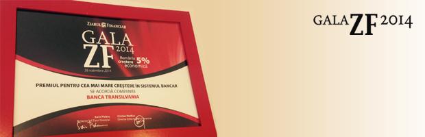 """Premiu pentru BT: """"Pentru cea mai mare crestere din sistemul bancar"""" din partea ZF"""