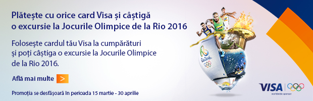 Campanie VISA: Plateste cu cardul Visa si poti castiga o excursie la Jocurile Olimpice de la Rio 2016
