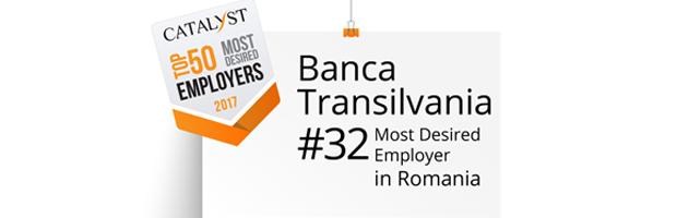 Banca Transilvania, in top 50 cei mai doriti angajatori din Romania