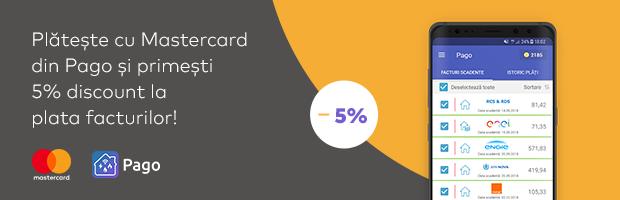 Pago ofera puncte convertibile in lei si cash-back 5% la utilizarea cardului Mastercard